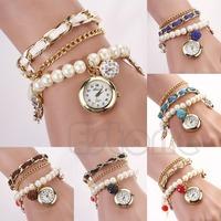 Free Shipping Women Faux Pearl Anchor Leather Band Chain Bracelet Quartz Analog Wrist Watch
