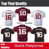 Top Quality 14 15 Soccer Jersey NAINGGOLAN STROOTMAN PJANIC DE ROSSI GERVINHO TOTTI 2015 Home Brown Away black football shirts