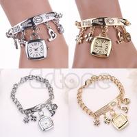 Free Shipping Glamor Women Love Rhinestone Stainless Steel Chain Bracelet Popular Wrist Watch