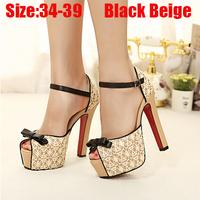 New 2015 Women Sandals Gladiator Shoes Peep Rome High Heel Open Toe Casual Sandalias Femininas Bowtie Black Shoe Woman Shose