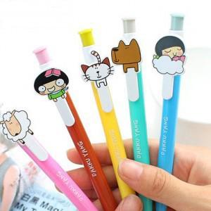 2015 Hot Sale Special Offer 0.5mm Plastic Canetas Caneta Ballpoint Pen C116 Korea Stationery Kawaii Cartoon Ballpoint Dakku Yang(China (Mainland))