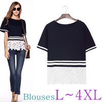 The Newest Hollywood Fashion Street Style Simple Cotton Lace Blouse/L-XXXXL PLUS SIZE/Tops/Cardigan