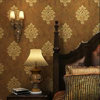 Brown Damask Wallpaper Vintage Non woven Fabric Wallcovering papel de parede para sala  for bedroom walls