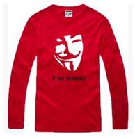 fashion V for Vendetta V for Vendetta film cool cotton have big yards female male money long sleeve lovers T-shirt