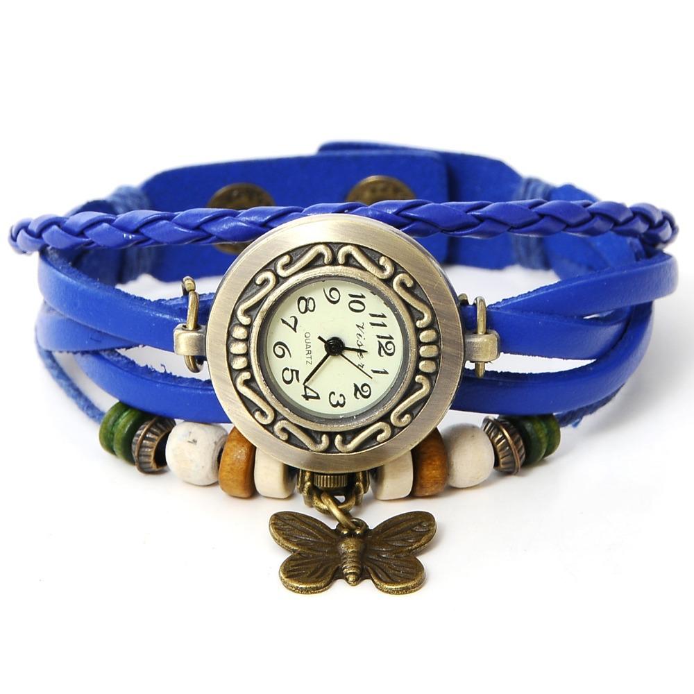 2015 Crazy saleTop Quality Women Leather Vintage Bracelet big round Watch Wristwatches butterfly pendant Retro Watch