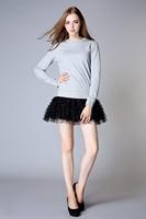 Patchwork 100%Cotton One-piece Dress Fashion Style Ladies Long Sleeve Mini Dress Women Spring & Summer Dress