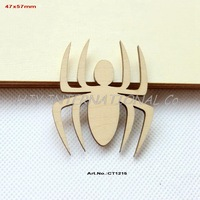 (80pcs/lot) Blank Natural Wooden Spider Brooch Rustic Unfinished Wood Charms 57mm-CT1215