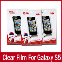 10PCS/Lot Clear Screen Guard For Samsung Galaxy S5 Screen Protective Films Retail Package With Soft Cloth High Quality