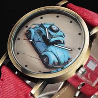 New Women's Fashion Watches Vintage GRAFFITI Car Pattern Bronze Dial Quartz Watch Women Lady Girl relogio femilino Armbanduhr 57