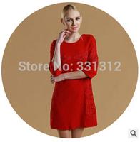 women plain dress designs long sleeve knit sexy red dress