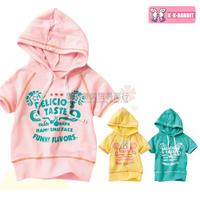 France KK-rabbit 100% Genuine cotton hooded  short-sleeved T-shirt short sleeve Children SL1127