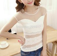 2015 Lei mesh yarn stitching T-shirt Perspective wild sexy lace shirt bottoming shirt