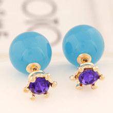 Super Deal Brand Cheap Double Pearl Earrings Colorful Statement Zircon Channel Stud Crystal Earring Wedding Jewelry