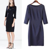 Women Dress 2015 Vestidos Back Hollow Out Solid Sexy Dress Sheath Casual Slim O Neck Three Quarter Sleeve Brand Party Dresses