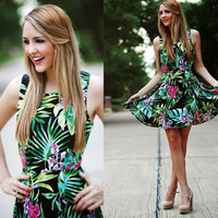 Fashion New Arrival 2015 Casual Leaves Floral Printed Women Summer Dress Sleeveless Tropical Party Mini Dress Vestidos Femininos