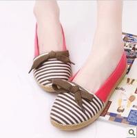 New 2015 Women Flats Canvas Shoes Bow Platform Slip Shose Maternity Sapatos Femininos Stripe Breathable Loafers Shoe Moccasins