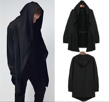 Оригинальный 2015 h дизайн мужская одежда толстовка весна осень капюшоном мужчин капюшоном кардиган мантиссы черный плащ верхняя одежда негабаритных