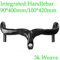 2015 New Integrated Carbon Bicycle Handlebar Stem Road Bike Handlebar Size 90mm*400mm/100*420mm