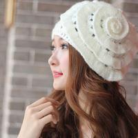 Fashion Warming Shop New Winter Women Beret Braided Knitted Hat Crochet Baggy Beanie Flower Cap Free Shipping