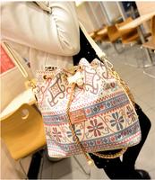 2014 new  lady  small bucket diagonal retro floral national fresh chain shoulder bag