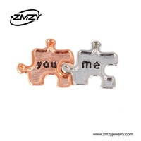 Free Shipping !!(20pcs/lot )  2015 New! Valentine Hot Alloy You And Me Floating Charms For Magnetic Glass Living Memory Locket
