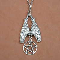 YP0207 Hot movies jewelry evil supernature bronze ancient silver amulet to ward off evil pentagram fine necklace Free shipping
