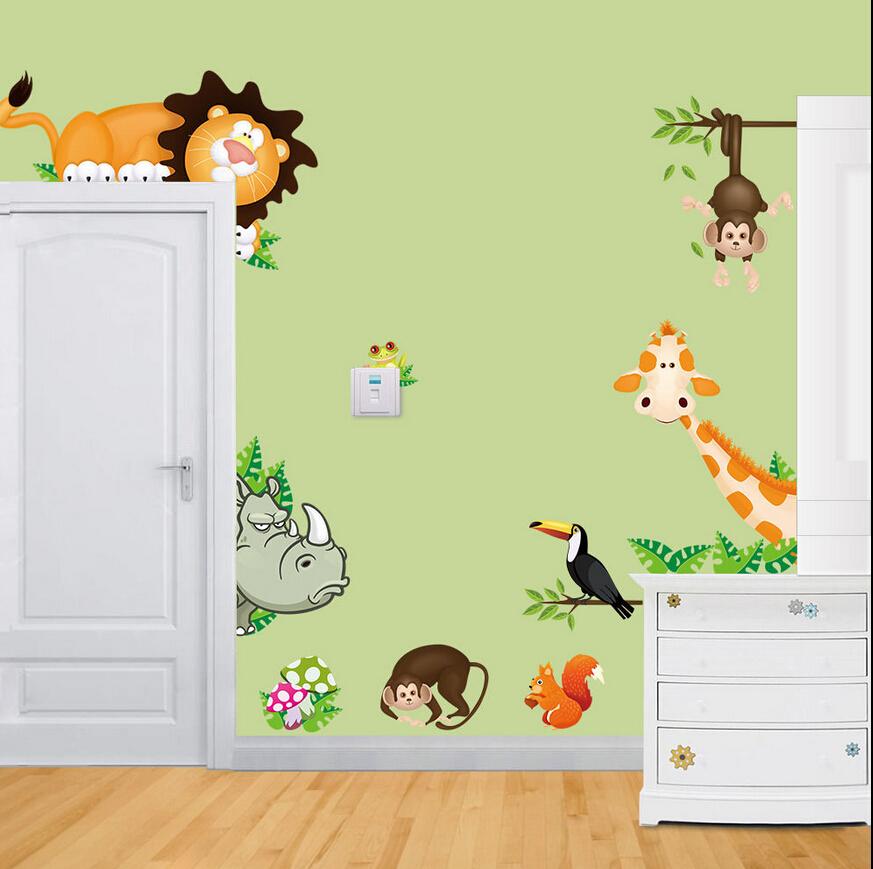 Jungle Wild Animals Vinyl Wall Decals Sticker for Baby Nursery Child Bedroom Wall Stick(China (Mainland))