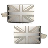 Mens Classic New Nickel Brushed Sliver Square Formal Business Wedding Shirt UK Flag Cufflinks CKB010