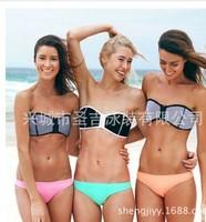 Women's Fashion Neoprene Bikinis Lady New Summer Sexy Swimsuit Bath Suit Push Up Bikini set Bathsuit Swimwears Triangle