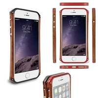 """Wooden Rear Metal Aluminum Hard Frame Bumper Case Cover For Apple iPhone 6 plus 5.5"""""""