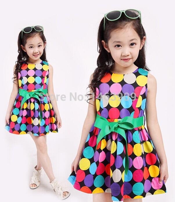 Rainbow Color Circle Dot Girls Dress Sleeveless Princess Cute Toddler Girl Clothes New 2015 Children Vestidos Infantis De Menina(China (Mainland))