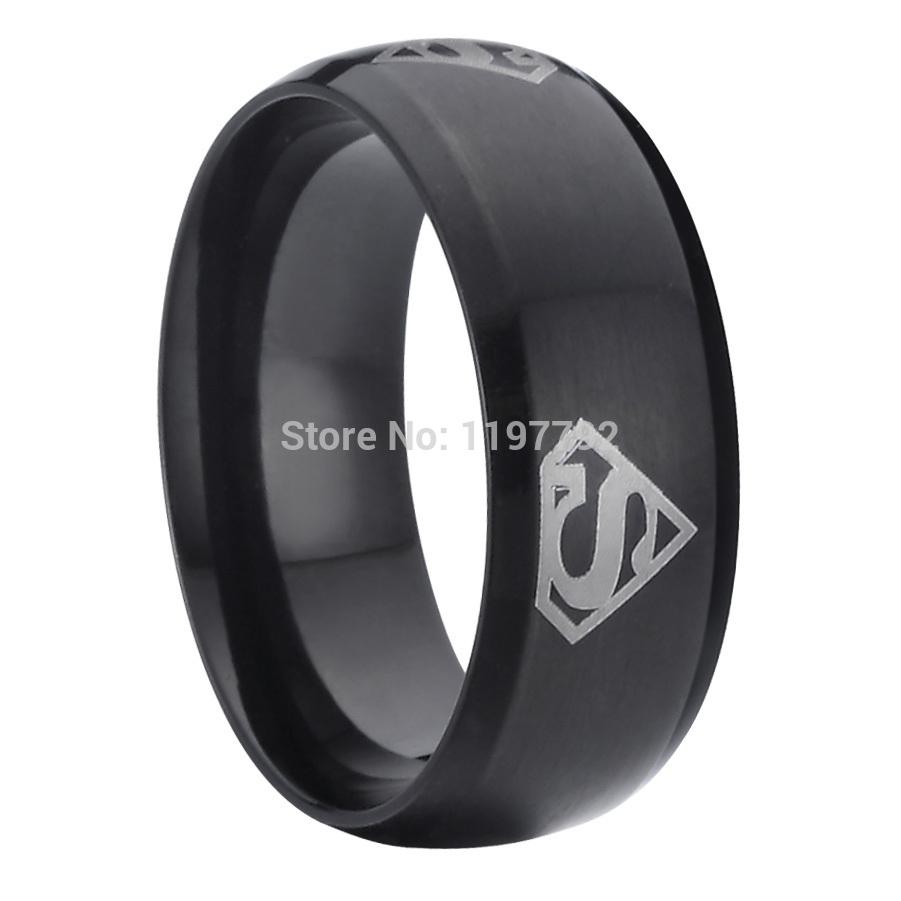 uomo gioielli cool superman simboli nero fedi nuziali mens anelli di ...
