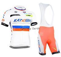 New arrive! KATUSHA 2015 #2 short sleeve cycling jersey shorts kit bike wear clothes jerseys pants,silicone pad,free shipping!