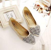 2015 elegant women shoes rhinestones flats big size US 4-10 by factory