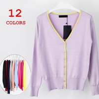 Free shipping 2015 New Fashion Women Contrast Color knit Sweater Coat V-Neck Long-Sleeve Cardigan Knitted Sweater 12 Colors