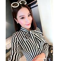 2015 spring elegant all-match lacing vertical stripe long-sleeve shirt bow shirt female