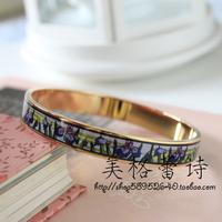 FREY enamel Monet Iris blue flowers of the highest quality gold narrow enamel bracelets