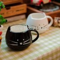 New Lovely Cute Little White&black Cat Coffee Milk Ceramic Mug Cup best New Year valentine' gift mug set  free shipping