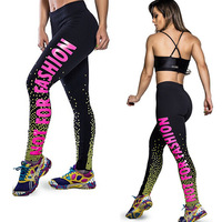 2015 New Womens Sexy  Printing Leggings Athletic Sports Fitness Gym Training pants Jeggings Casual Trousers Fashion Clothing