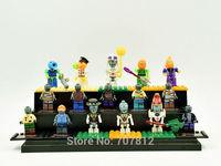 2015 Sale 16pcs/set  Plants Vs Zombies 2 Action Figures PVC Cute PVZ Toy Blocks Collection Toys  Best Gift Free Shipping