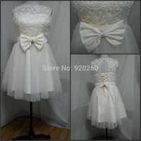 2015 real photo lace short bridesmaid dresses champagne Large size dress girl bride wedding dress cheap skirt