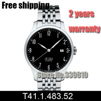 T41.1.483.52 men fashion Casual black dial watches luxury brand relogios masculino steel belt mechanical watches