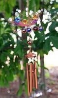 Wholesale Metal Wind Chimes Handmade Painted Glass Butterfly Wind Bells for Home Decorations and Gifts
