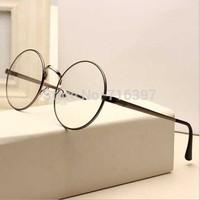 2015 I-bright Newest Men/women Round Retro Metal Eyeglasses Frames Korean Myopia Glasses Frame Optical Circle Plain Mirror