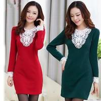 hot sale 2015 desigual autumn winter women slim warm thick lace patchwork long-sleeve fat mm plus size basic dress M-4XL WX374