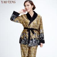 Winter thick coral fleece sleepwear women's long-sleeve set plus size winter flannel lounge female