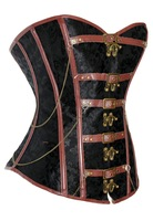 beauty online new 2014 women sexy lingerie hot 2014 NEW Sexy Black Brocade Corset with Brown Leather LC5337