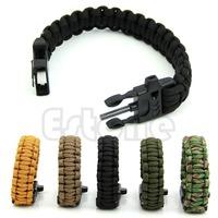 Free Shipping New Paracord Survival Bracelet Whistle Gear Kits Flint Fire Starter Scraper
