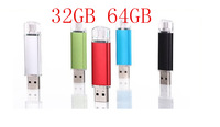 NEW 64GB OTG USB flash drive,colorful pen drive 32GB 64gb metal usb stick Support Smart phone+PC really capacity u disk