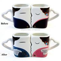 New Magic Mug CoffeeTea Milk Hot Cold Heat Sensitive Color-changing Mug Cup set of 2  free shipping